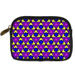 Triangles And Honeycombs Pattern                                                                                                   	digital Camera Leather Case by LalyLauraFLM