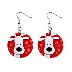 Christmas Reindeer - Red Mini Button Earrings by Valentinaart