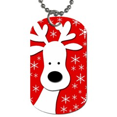 Christmas Reindeer   Red Dog Tag (two Sides) by Valentinaart