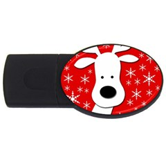 Christmas Reindeer   Red Usb Flash Drive Oval (4 Gb)  by Valentinaart