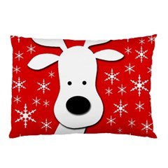 Christmas Reindeer   Red Pillow Case by Valentinaart
