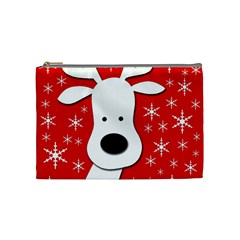 Christmas Reindeer   Red Cosmetic Bag (medium)  by Valentinaart