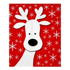 Christmas Reindeer   Red Shower Curtain 60  X 72  (medium)  by Valentinaart