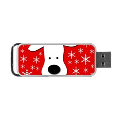 Christmas Reindeer   Red Portable Usb Flash (two Sides) by Valentinaart