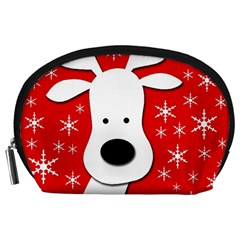 Christmas Reindeer   Red Accessory Pouches (large)  by Valentinaart