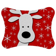 Christmas Reindeer   Red Jigsaw Puzzle Photo Stand (bow) by Valentinaart