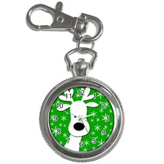Christmas Reindeer   Green Key Chain Watches by Valentinaart