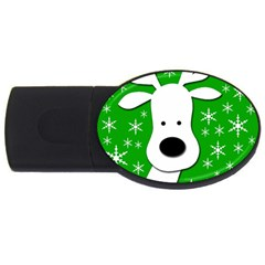 Christmas Reindeer   Green Usb Flash Drive Oval (2 Gb)  by Valentinaart