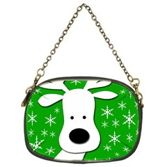 Christmas Reindeer   Green Chain Purses (one Side)  by Valentinaart