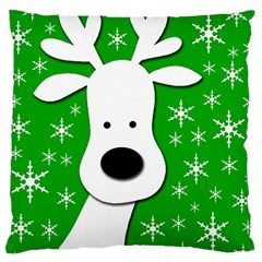 Christmas Reindeer   Green Large Cushion Case (two Sides) by Valentinaart