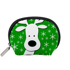 Christmas Reindeer   Green Accessory Pouches (small)  by Valentinaart