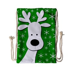 Christmas Reindeer   Green Drawstring Bag (small) by Valentinaart