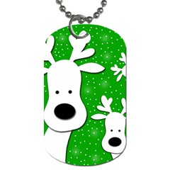 Christmas Reindeer - Green 2 Dog Tag (one Side) by Valentinaart
