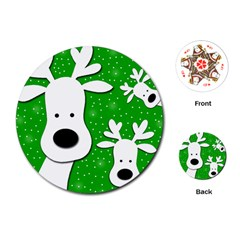 Christmas Reindeer   Green 2 Playing Cards (round)  by Valentinaart