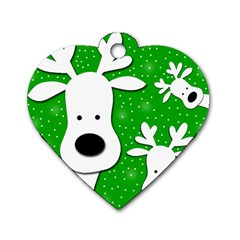 Christmas Reindeer   Green 2 Dog Tag Heart (one Side) by Valentinaart