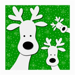 Christmas Reindeer   Green 2 Medium Glasses Cloth (2 Side) by Valentinaart