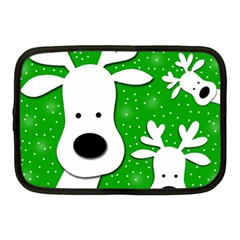 Christmas Reindeer   Green 2 Netbook Case (medium)  by Valentinaart