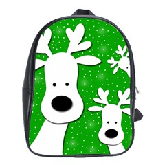 Christmas Reindeer   Green 2 School Bags(large)  by Valentinaart