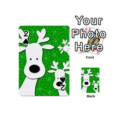 Christmas Reindeer   Green 2 Playing Cards 54 (mini)  by Valentinaart