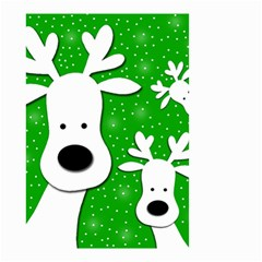 Christmas Reindeer   Green 2 Small Garden Flag (two Sides) by Valentinaart
