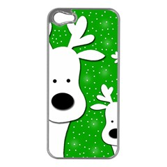 Christmas Reindeer   Green 2 Apple Iphone 5 Case (silver) by Valentinaart
