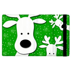 Christmas Reindeer   Green 2 Apple Ipad 2 Flip Case by Valentinaart