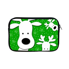 Christmas Reindeer   Green 2 Apple Ipad Mini Zipper Cases by Valentinaart