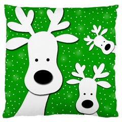 Christmas Reindeer   Green 2 Standard Flano Cushion Case (one Side) by Valentinaart