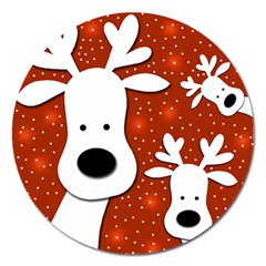 Christmas Reindeer - Red 2 Magnet 5  (round) by Valentinaart