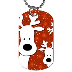 Christmas Reindeer   Red 2 Dog Tag (two Sides) by Valentinaart