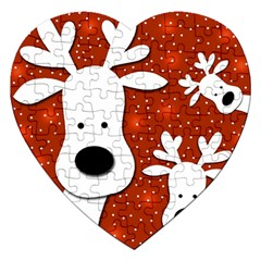 Christmas Reindeer   Red 2 Jigsaw Puzzle (heart) by Valentinaart