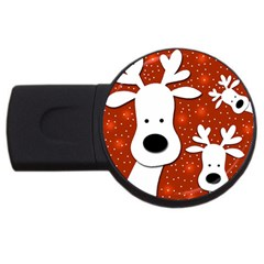 Christmas Reindeer   Red 2 Usb Flash Drive Round (4 Gb)  by Valentinaart