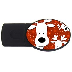 Christmas Reindeer   Red 2 Usb Flash Drive Oval (4 Gb)  by Valentinaart