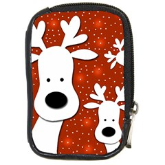 Christmas Reindeer   Red 2 Compact Camera Cases by Valentinaart