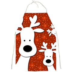 Christmas Reindeer   Red 2 Full Print Aprons by Valentinaart