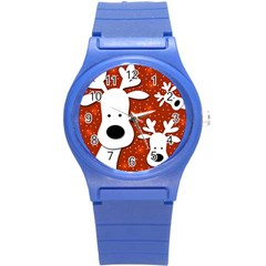 Christmas Reindeer   Red 2 Round Plastic Sport Watch (s)
