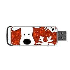 Christmas Reindeer   Red 2 Portable Usb Flash (one Side) by Valentinaart