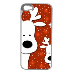Christmas Reindeer   Red 2 Apple Iphone 5 Case (silver) by Valentinaart