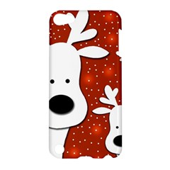 Christmas Reindeer   Red 2 Apple Ipod Touch 5 Hardshell Case by Valentinaart