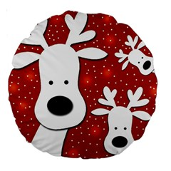 Christmas Reindeer   Red 2 Large 18  Premium Round Cushions by Valentinaart