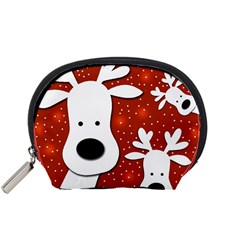 Christmas Reindeer   Red 2 Accessory Pouches (small)  by Valentinaart