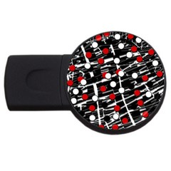 Red And White Dots Usb Flash Drive Round (4 Gb)