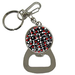 Red And White Dots Bottle Opener Key Chains by Valentinaart