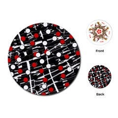 Red And White Dots Playing Cards (round)  by Valentinaart