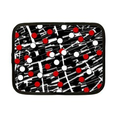 Red And White Dots Netbook Case (small)  by Valentinaart