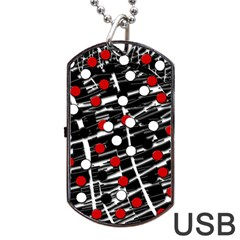 Red And White Dots Dog Tag Usb Flash (two Sides)  by Valentinaart