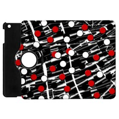 Red And White Dots Apple Ipad Mini Flip 360 Case by Valentinaart