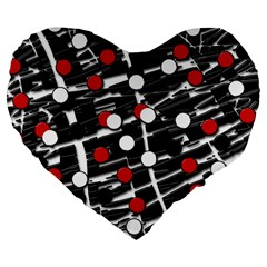 Red And White Dots Large 19  Premium Flano Heart Shape Cushions by Valentinaart