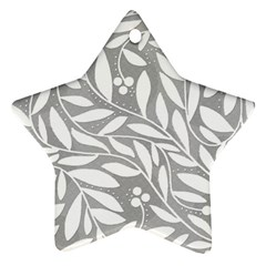 Gray And White Floral Pattern Ornament (star)  by Valentinaart
