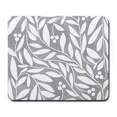 Gray And White Floral Pattern Large Mousepads